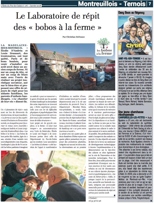 L'Echo du Pas-de-Calais - Laboratoire de répit - Les bobos à la ferme