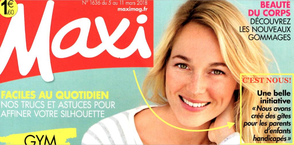 Maxi magazine, gîtes parents enfants handicapés, les bobos à la ferme, le laboratoire de répit